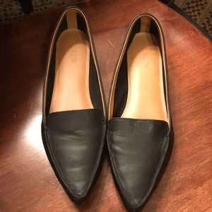 J crew leather black loafers size 8.5
